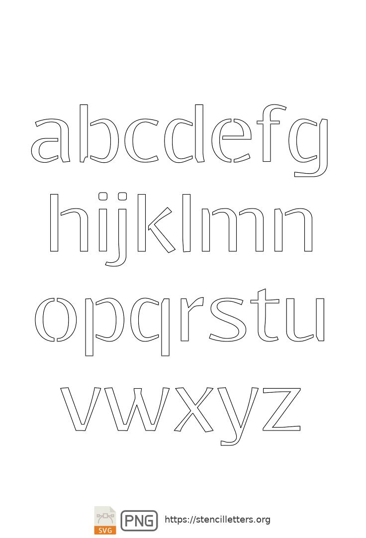 Clean Geo Light lowercase letter stencils