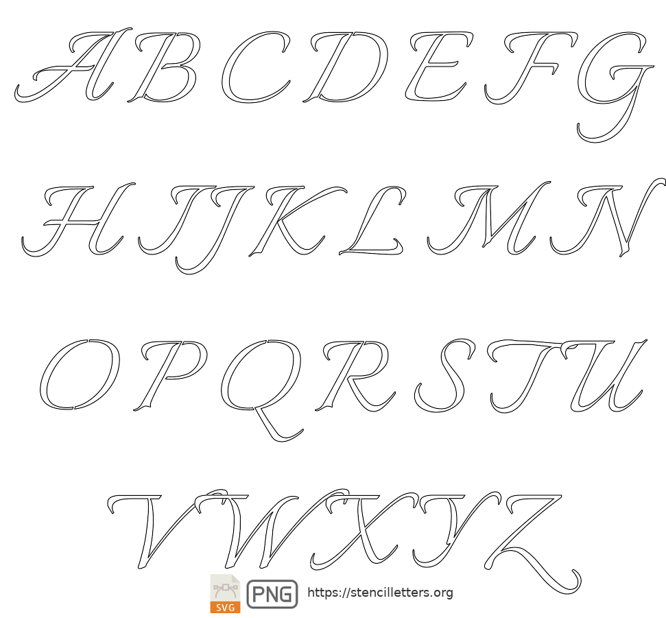 Connected Flowing Calligraphy uppercase letter stencils