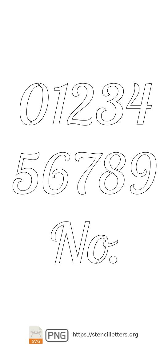 Connected Handwritten Italic number stencils