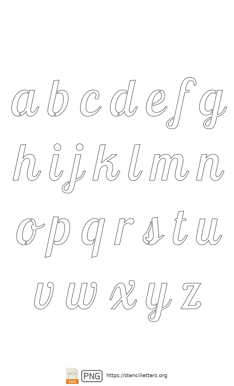 Connected Handwritten Italic lowercase letter stencils