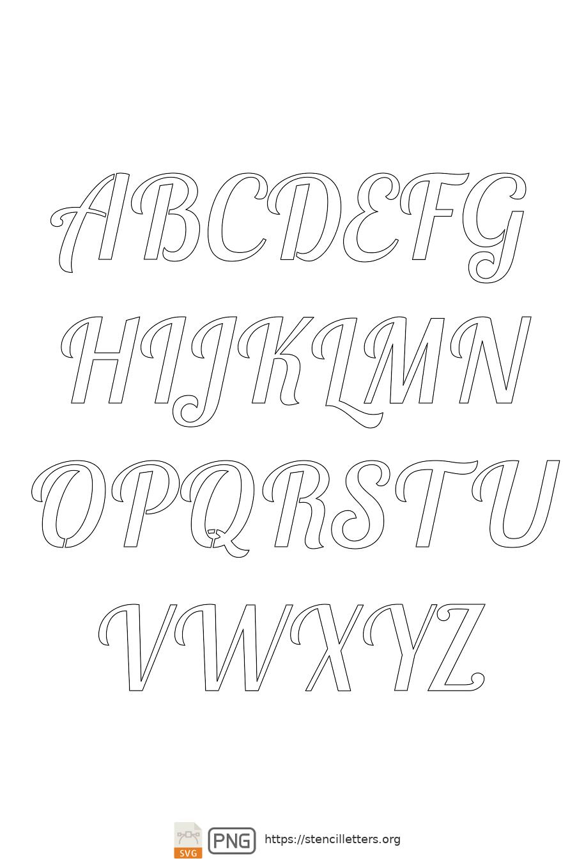 Connected Handwritten Italic uppercase letter stencils