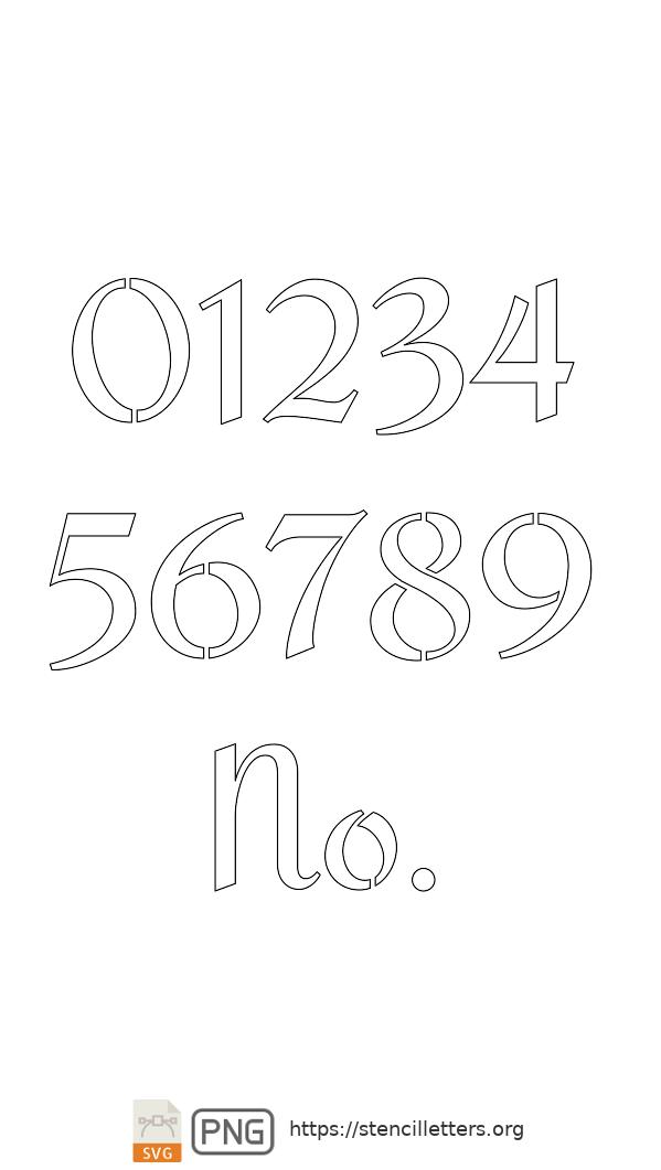 Cursive Script Calligraphy number stencils
