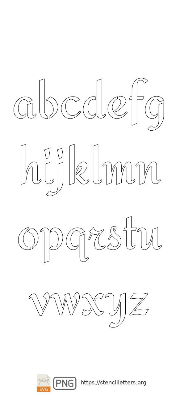 Cursive Script Calligraphy lowercase letter stencils