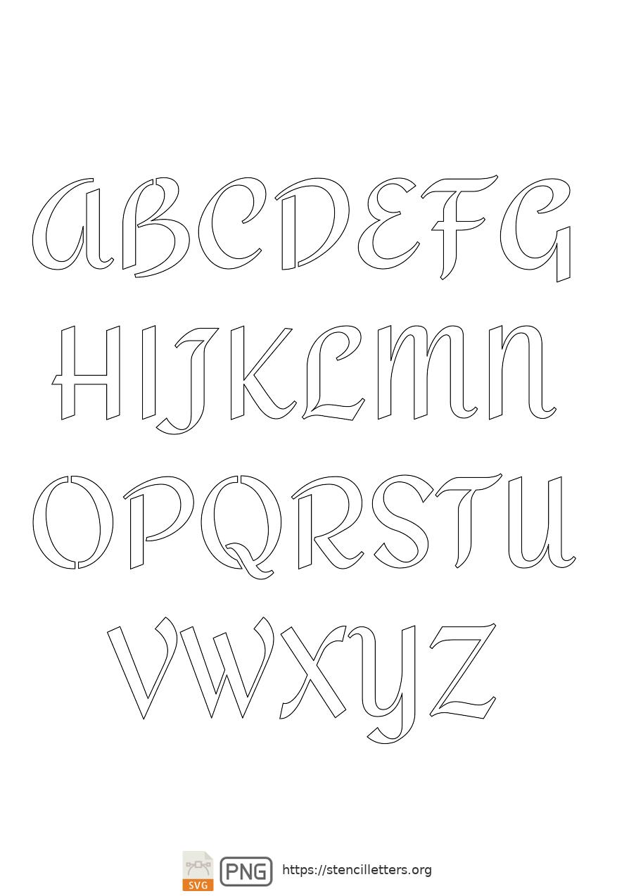 Cursive Script Calligraphy uppercase letter stencils