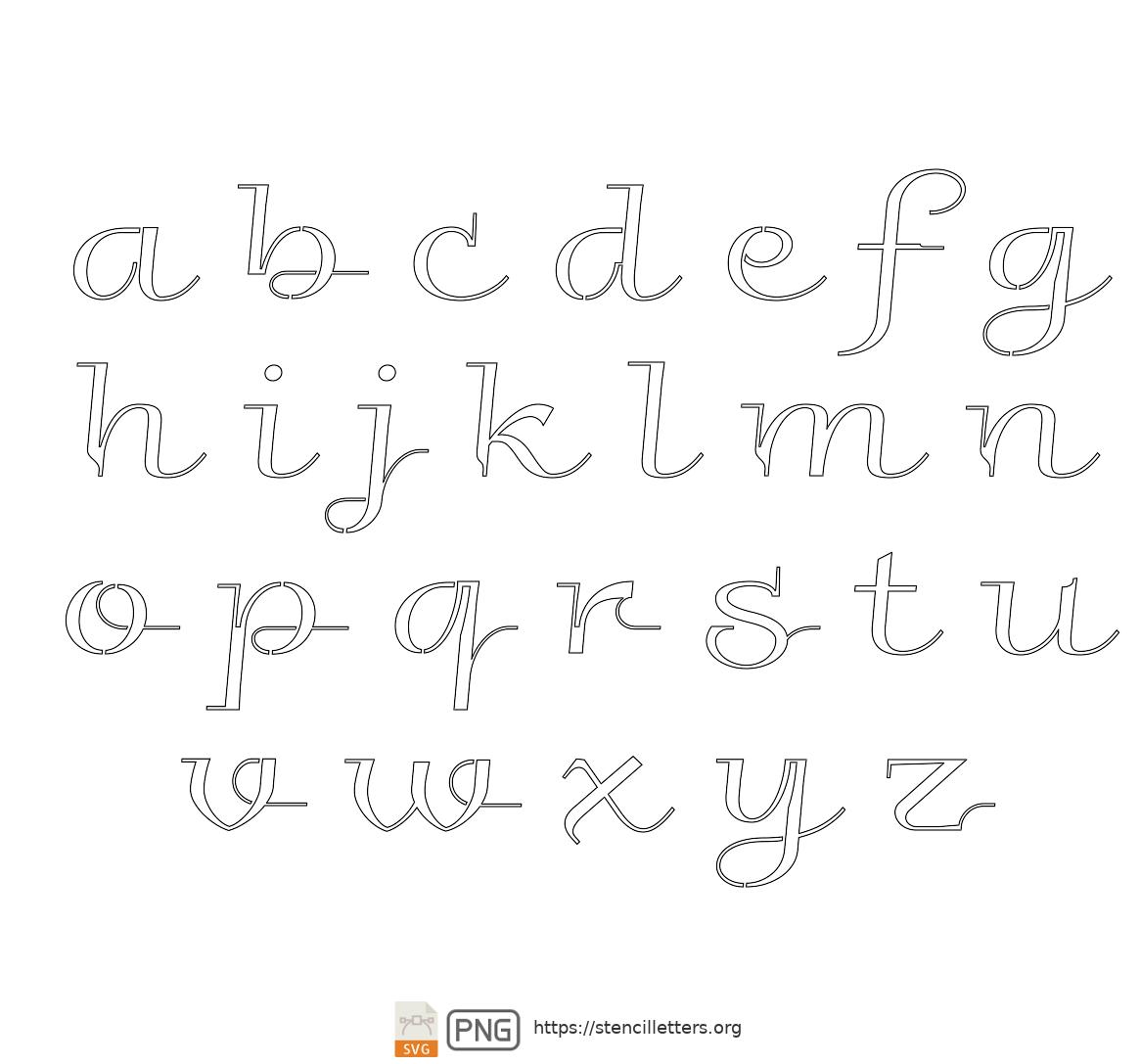 Elegant Wedding Calligraphy lowercase letter stencils