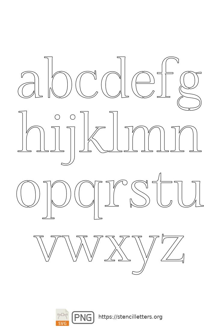 Formal Petite lowercase letter stencils