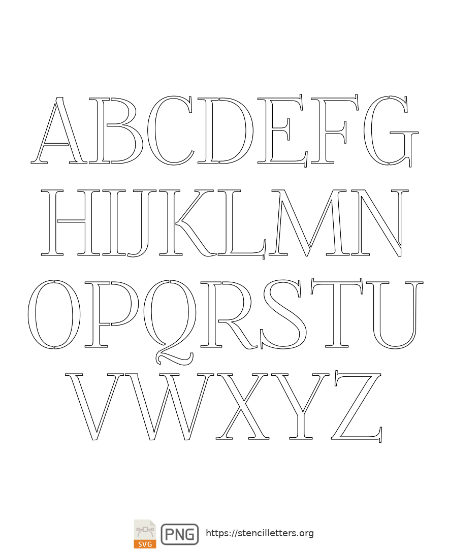 Formal Petite uppercase letter stencils