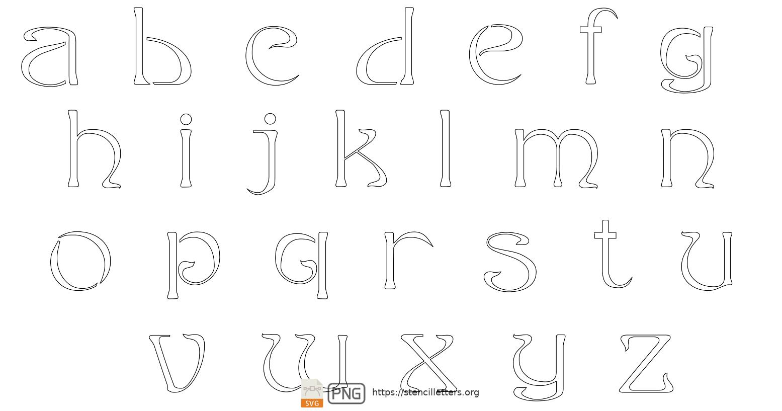 French Art Nouveau lowercase letter stencils