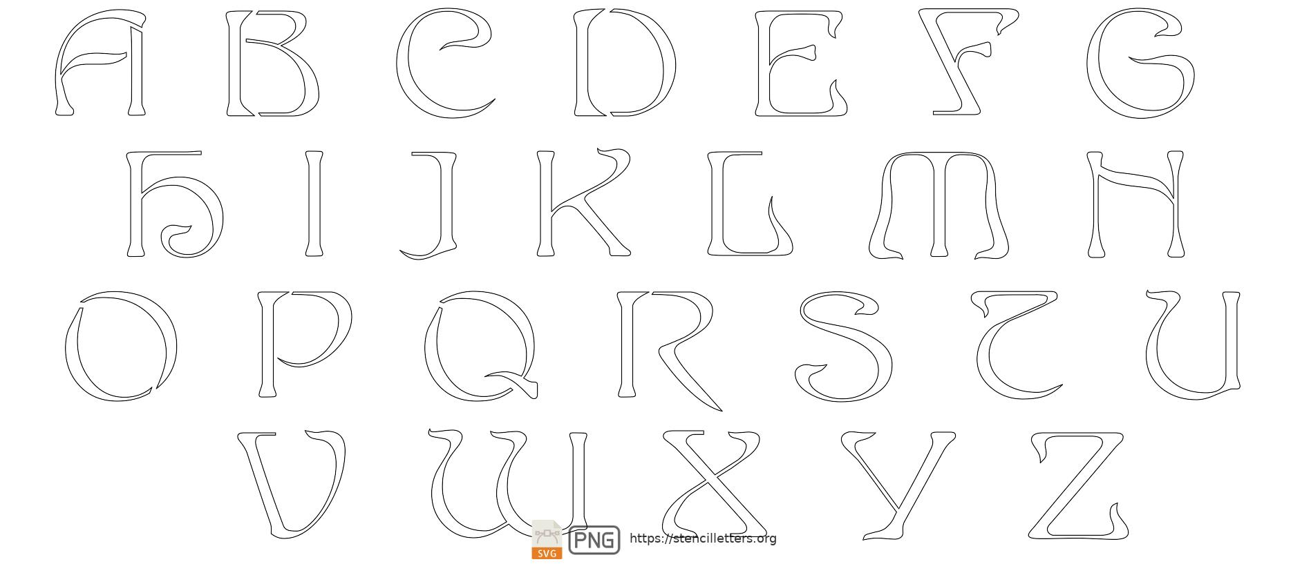 French Art Nouveau uppercase letter stencils