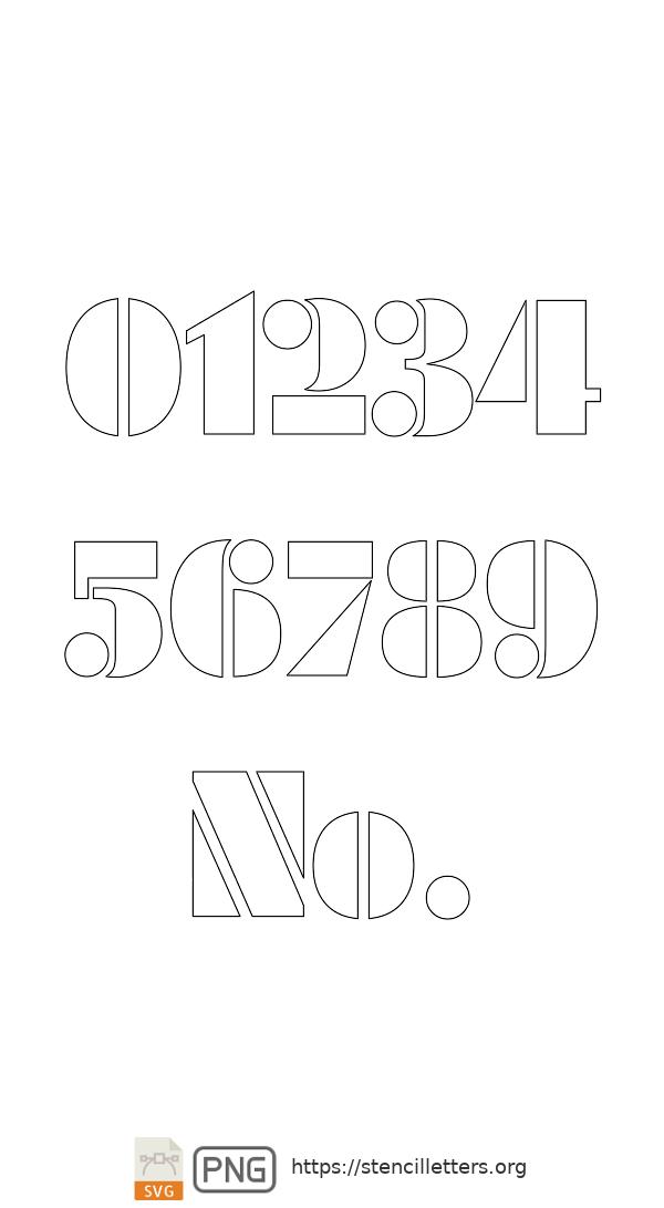 Futuristic Edge number stencils