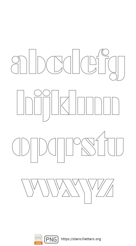 Futuristic Edge lowercase letter stencils
