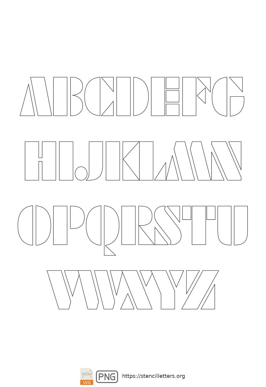Futuristic Edge uppercase letter stencils