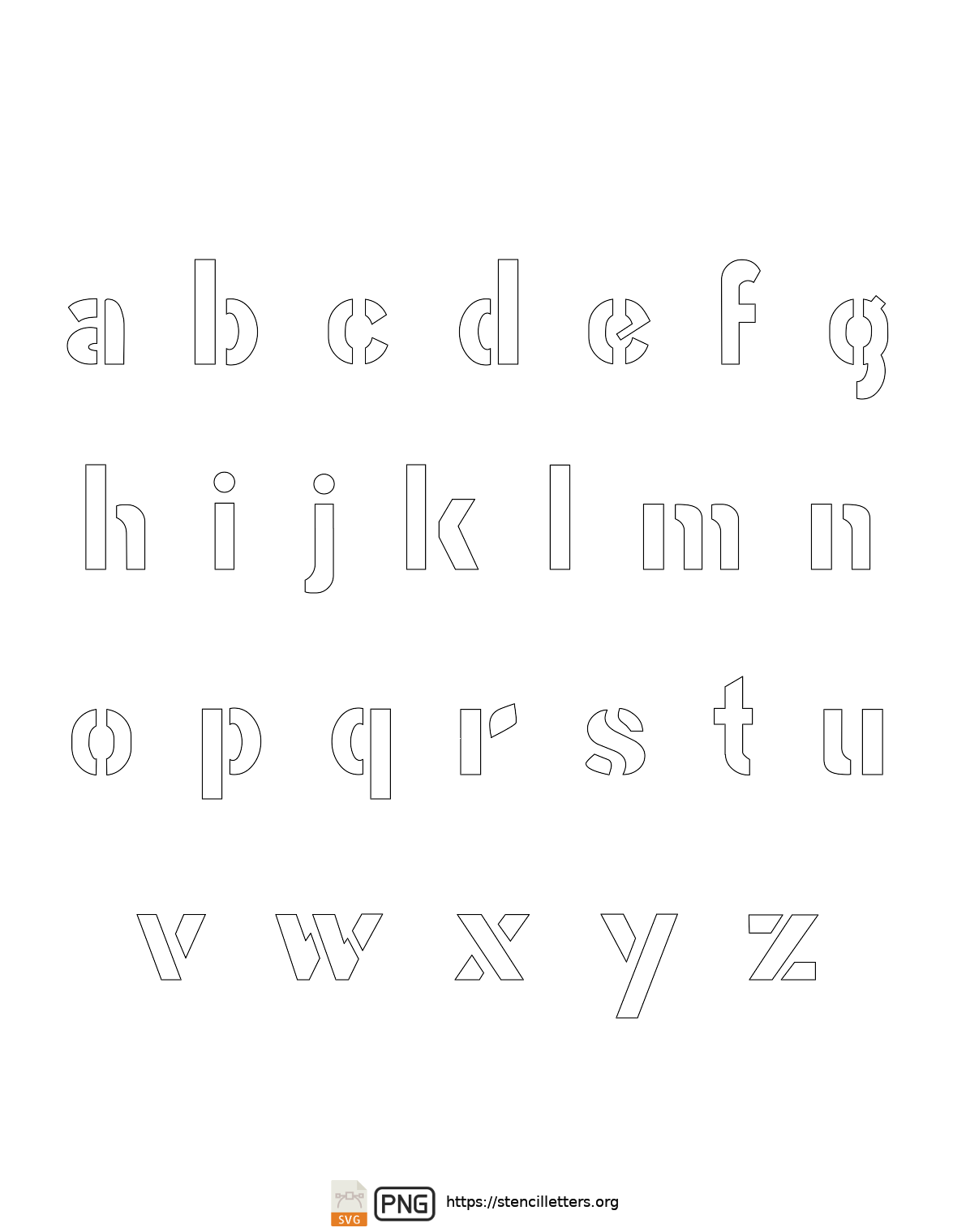 Gothic Bold Army lowercase letter stencils