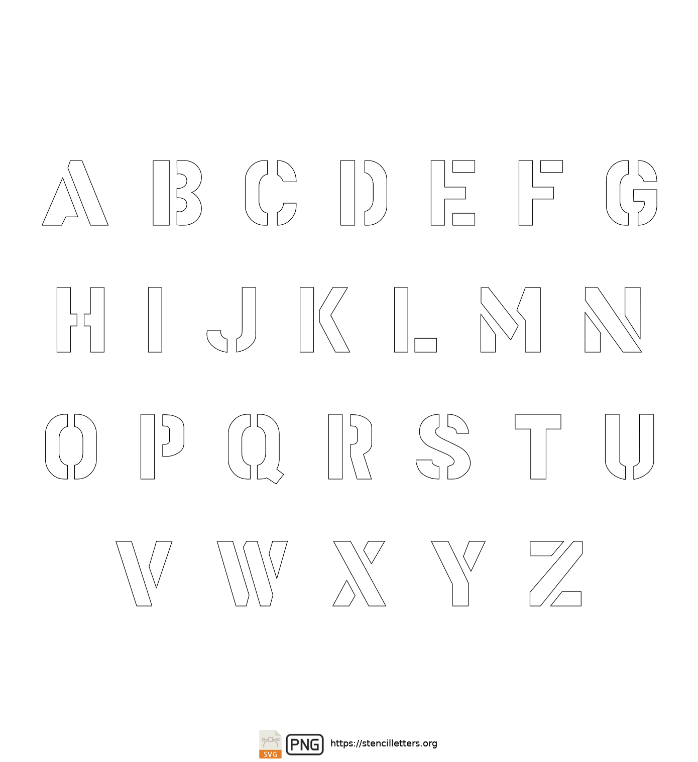 Gothic Bold Army uppercase letter stencils
