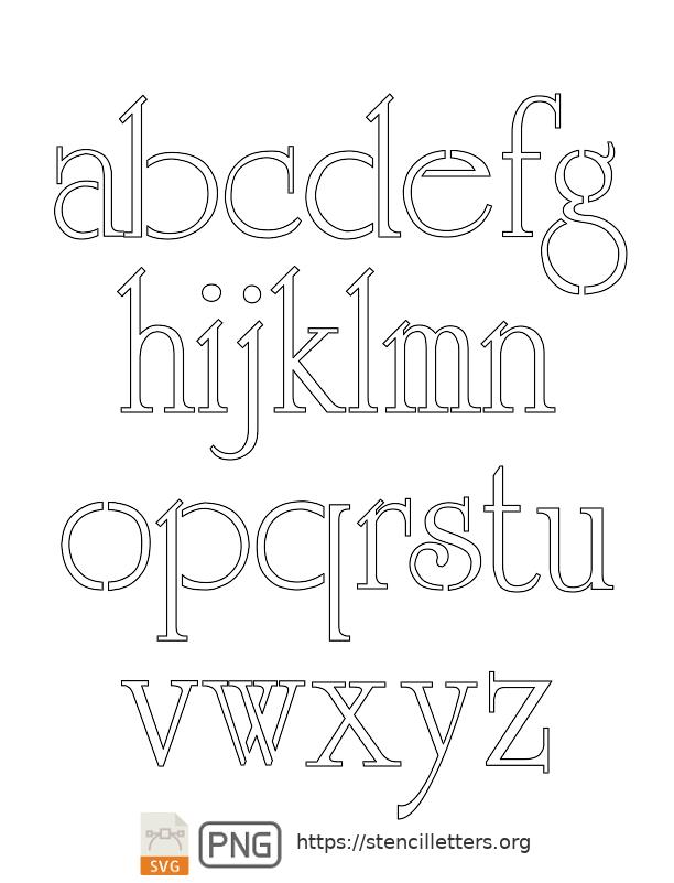 Grand & Stylish lowercase letter stencils