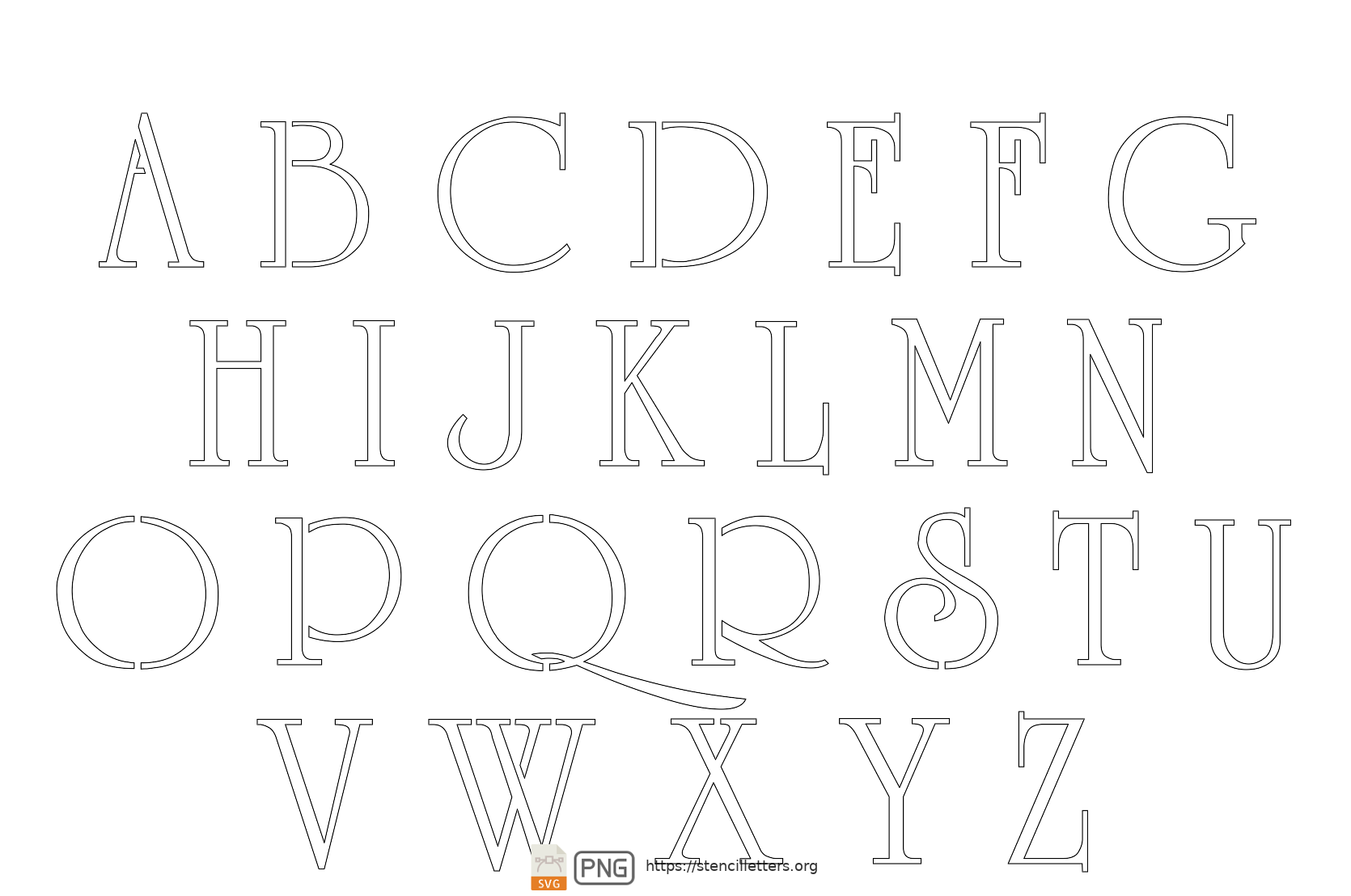 Grand & Stylish uppercase letter stencils