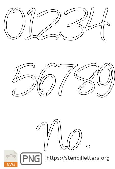 Handwritten Cursive Script number stencils
