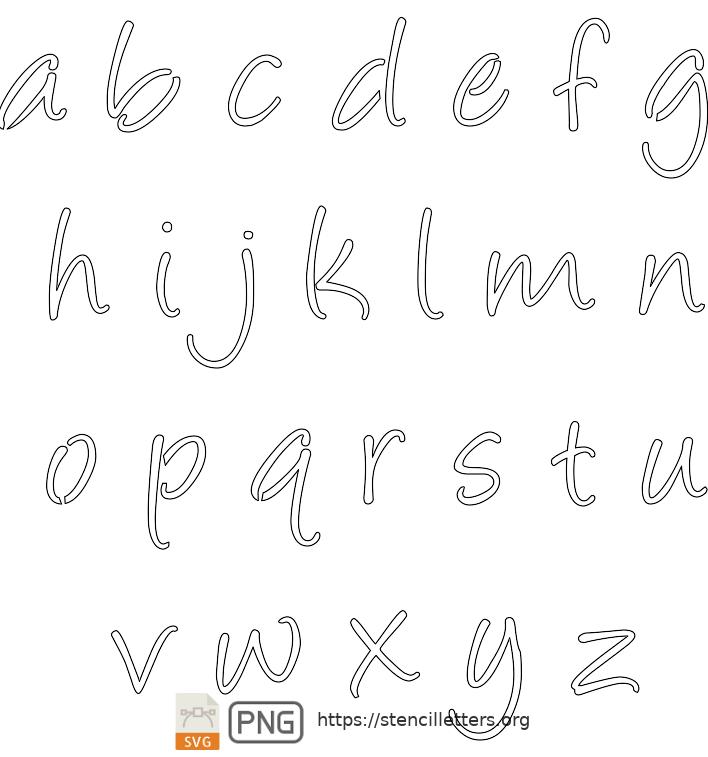 Handwritten Cursive Script lowercase letter stencils