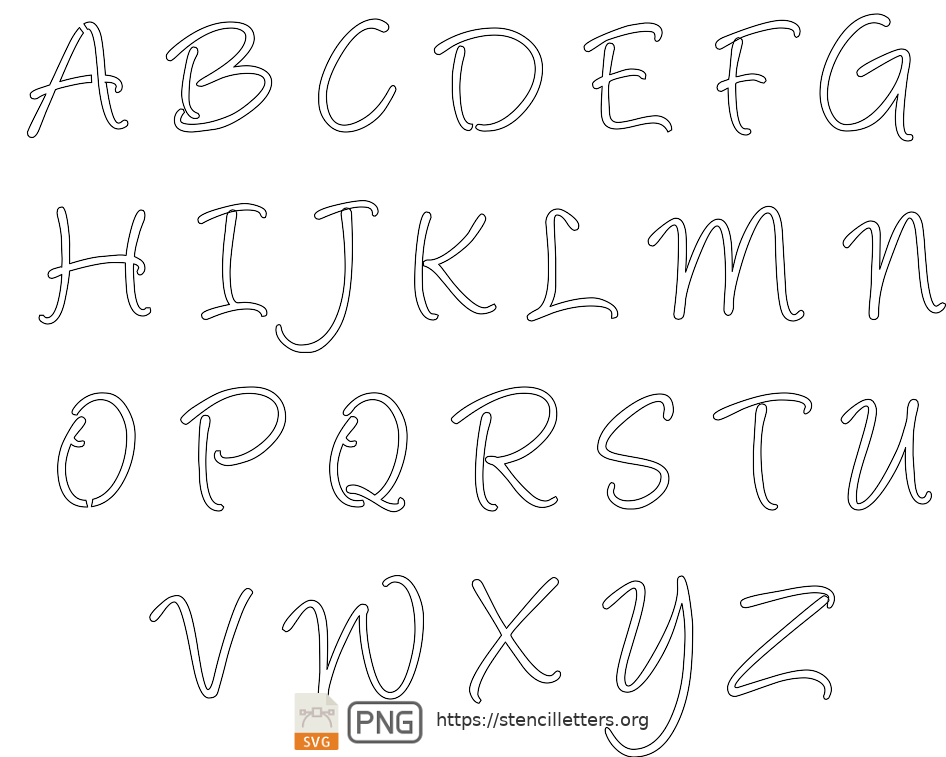 Handwritten Cursive Script uppercase letter stencils