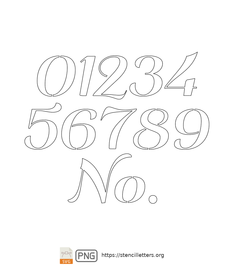 Italic Art Decor number stencils