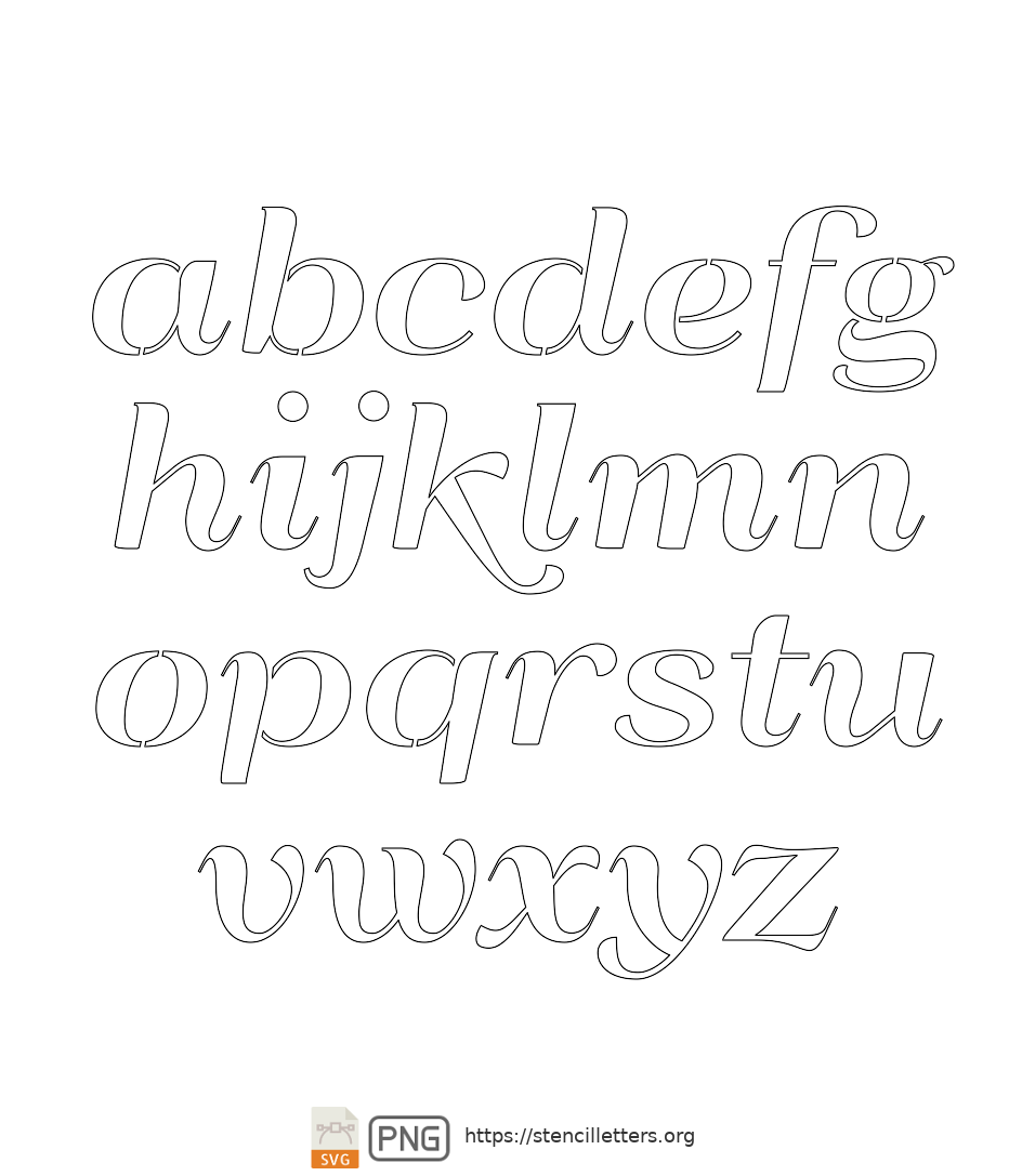 Italic Art Decor lowercase letter stencils