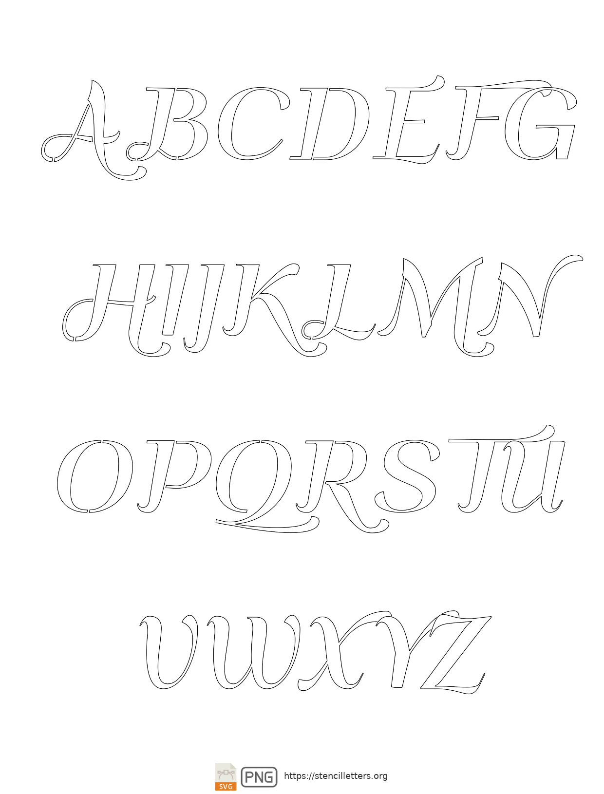 Italic Art Decor uppercase letter stencils