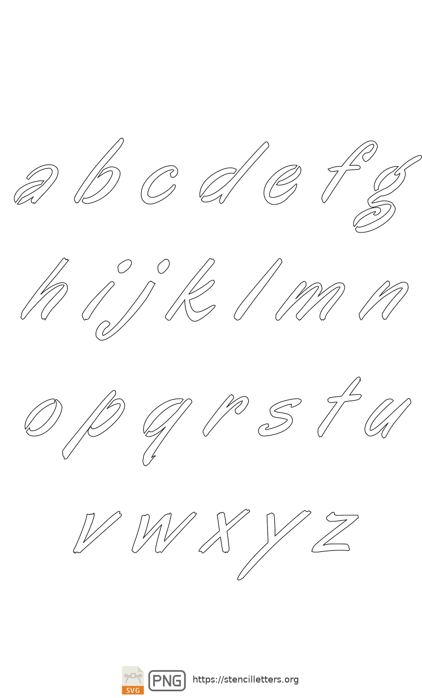 Italic Calligraphy lowercase letter stencils
