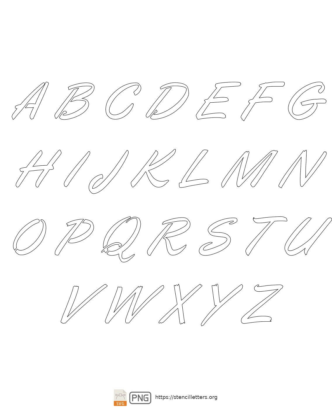 Italic Calligraphy uppercase letter stencils