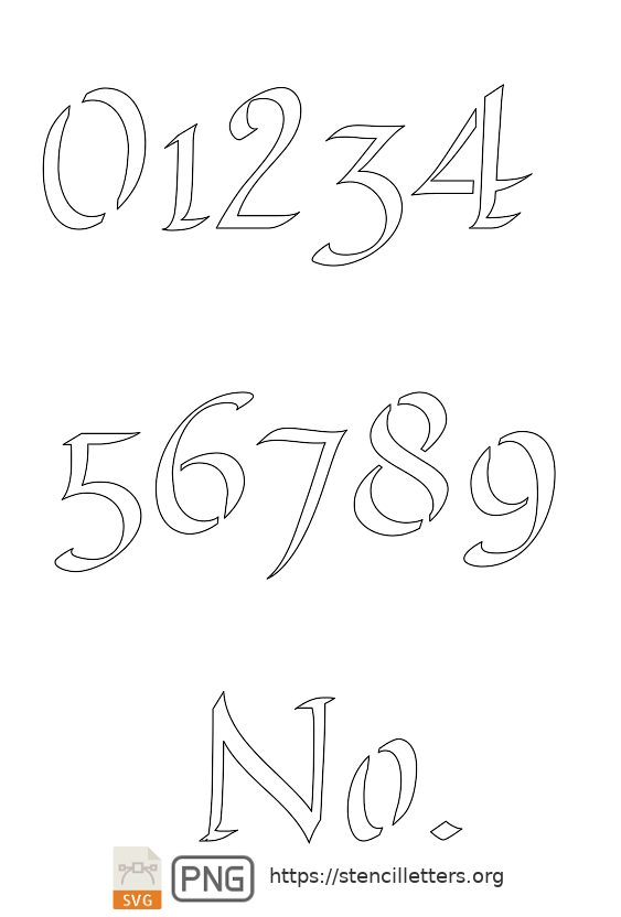 Longhand Calligraphy number stencils