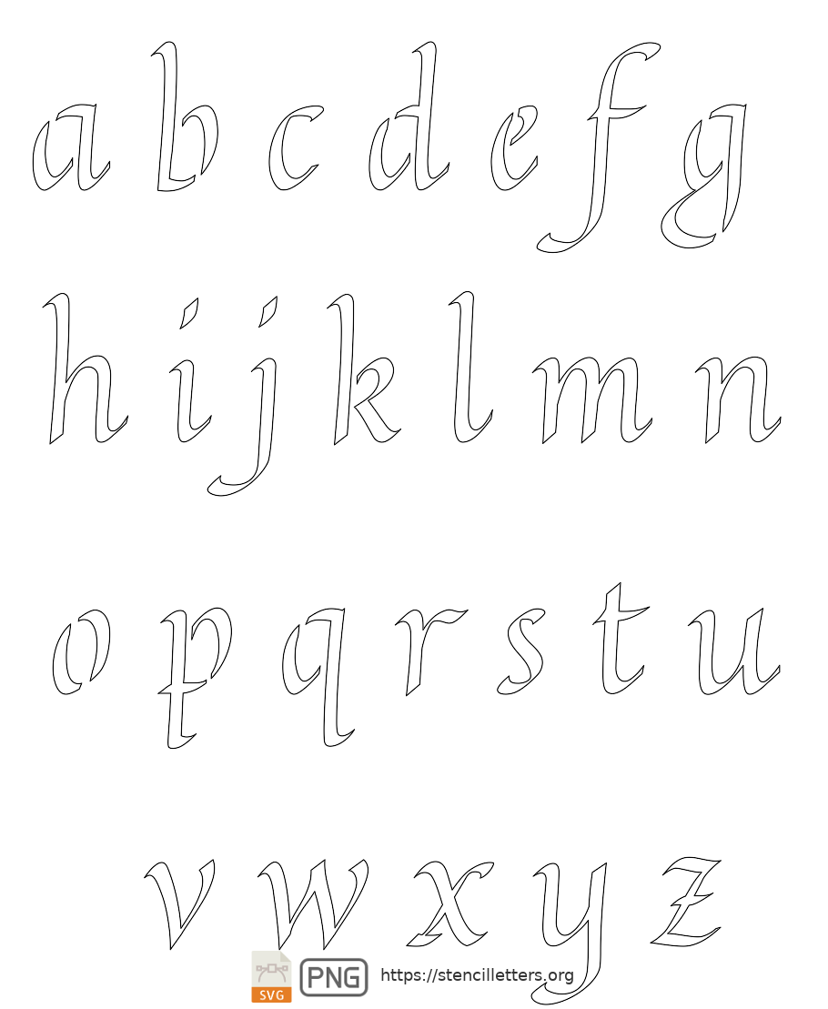 Longhand Calligraphy lowercase letter stencils