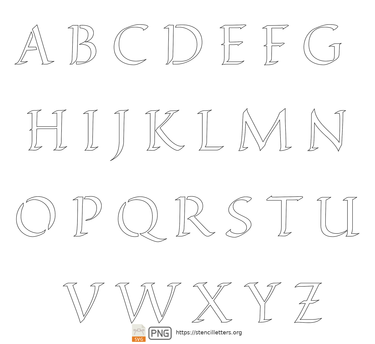 Longhand Calligraphy uppercase letter stencils