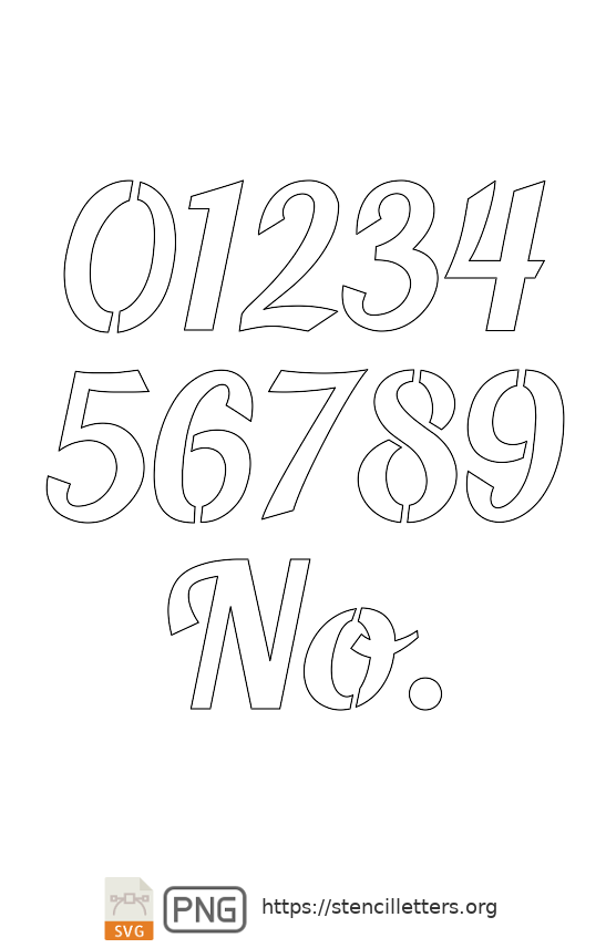 Longhand Script Calligraphy number stencils