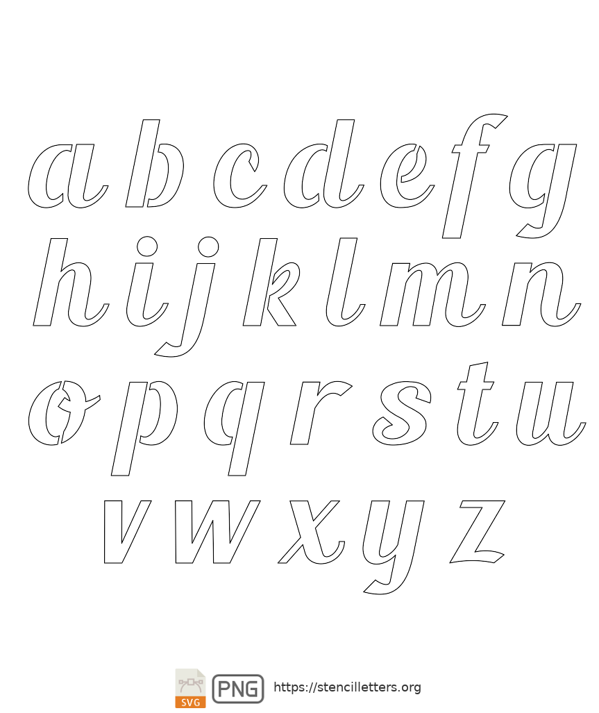 Longhand Script Calligraphy lowercase letter stencils