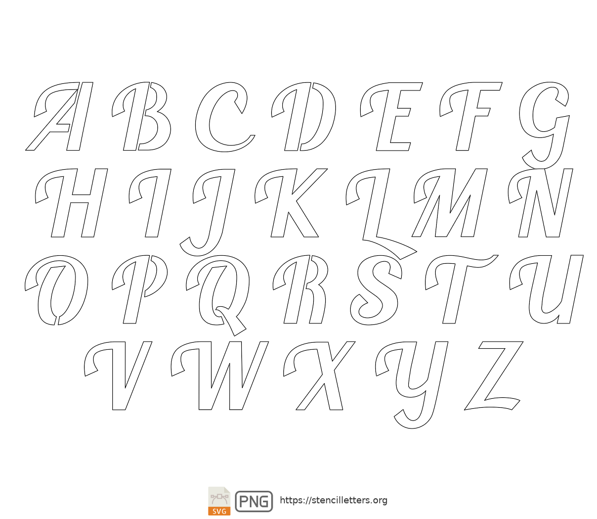 Longhand Script Calligraphy uppercase letter stencils