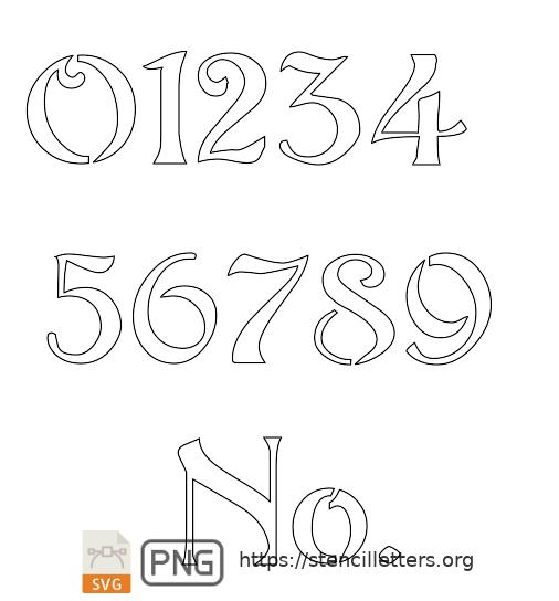 Natural Flowing Art Nouveau number stencils