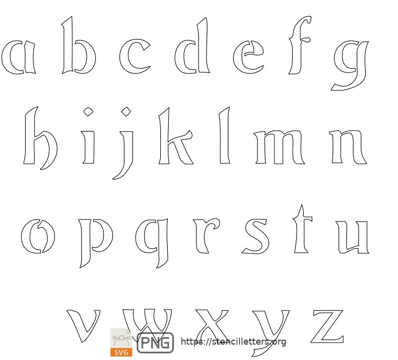 Natural Flowing Art Nouveau lowercase letter stencils