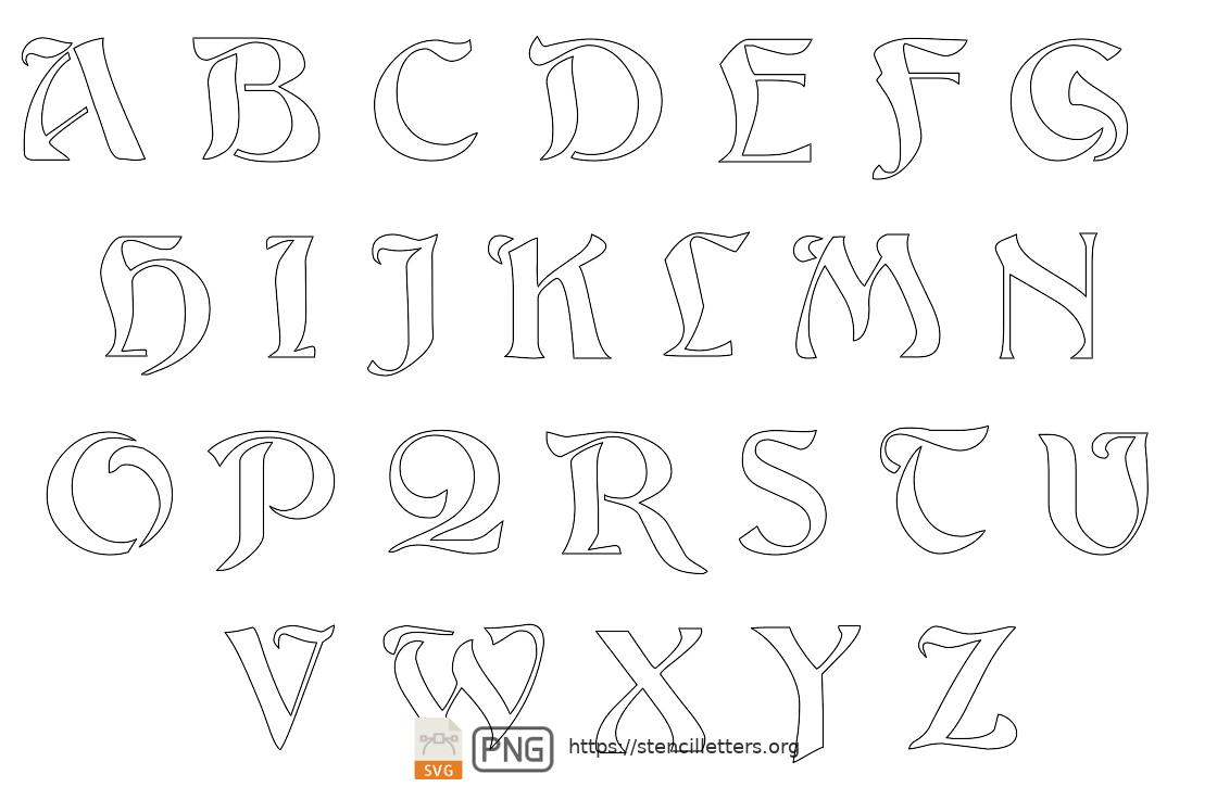 Natural Flowing Art Nouveau uppercase letter stencils