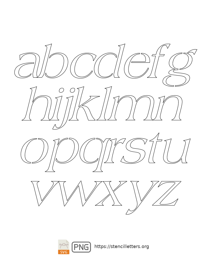 Old Roman Style lowercase letter stencils