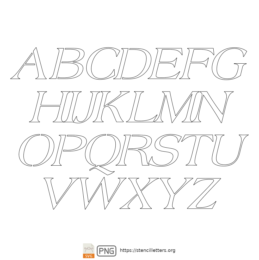 Old Roman Style uppercase letter stencils
