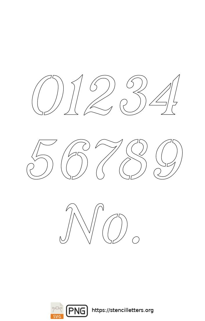 Ornamental Serif Cursive number stencils
