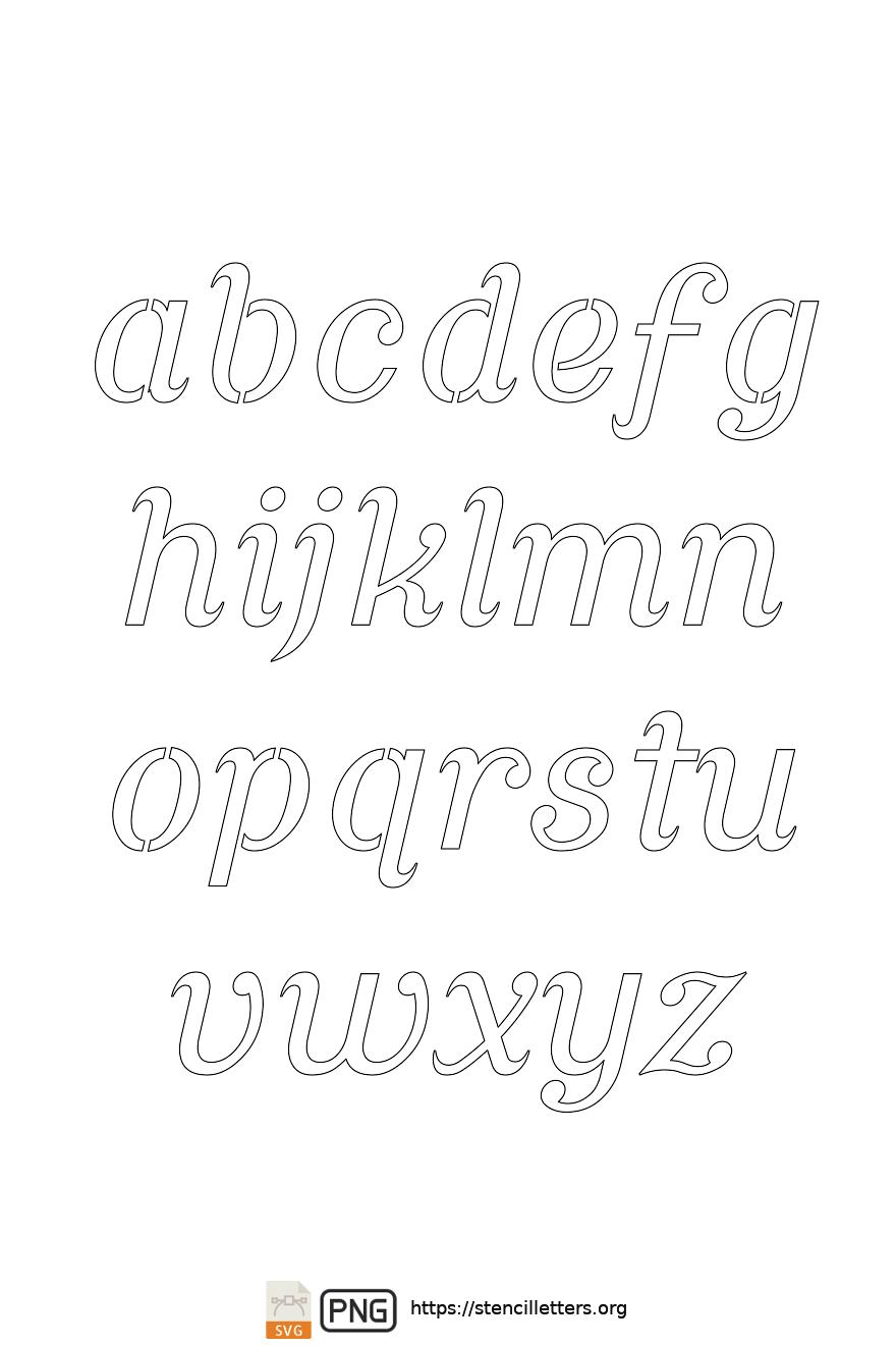 Ornamental Serif Cursive lowercase letter stencils