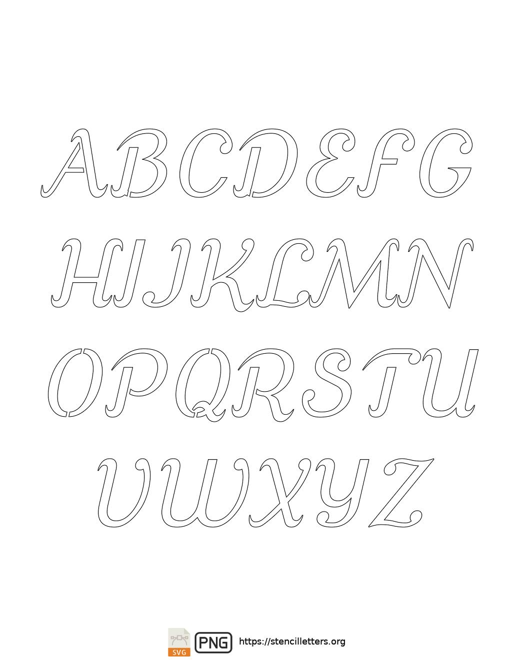 Ornamental Serif Cursive uppercase letter stencils