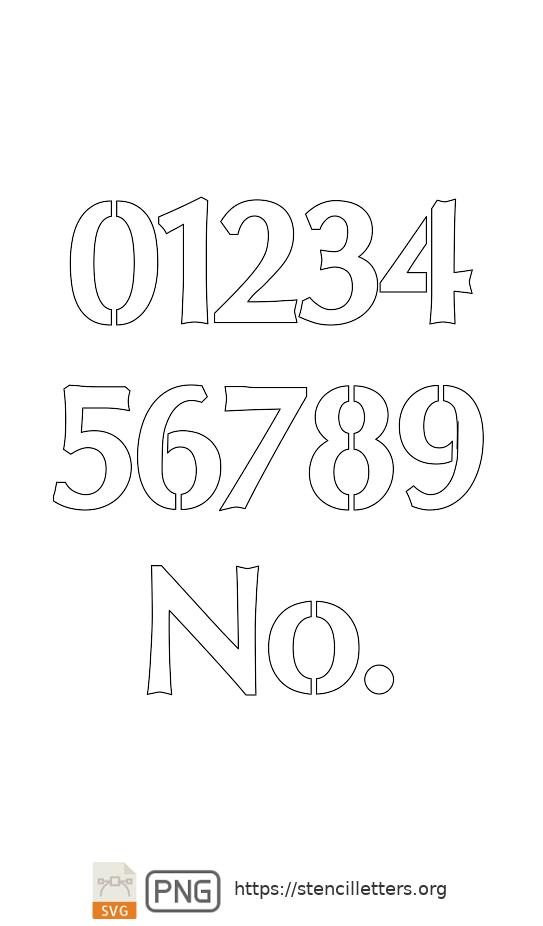 Sans-Serif Headline Bold number stencils