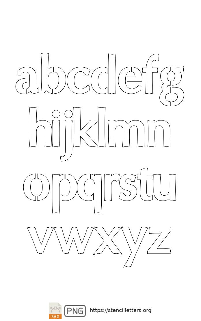 Sans-Serif Headline Bold lowercase letter stencils
