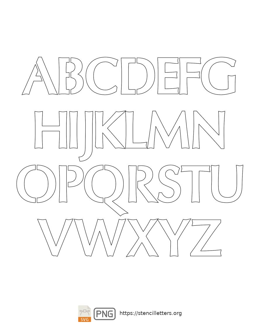 Sans-Serif Headline Bold uppercase letter stencils