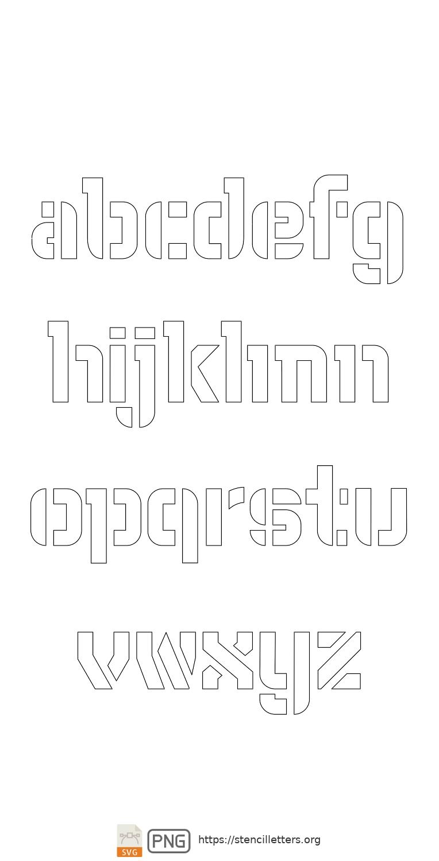 Sci-Fi Futuristic lowercase letter stencils