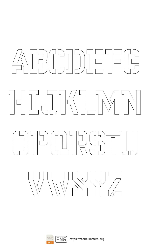 Sci-Fi Futuristic uppercase letter stencils