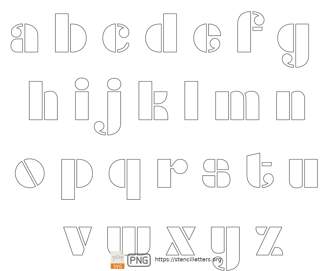 Smooth Round lowercase letter stencils