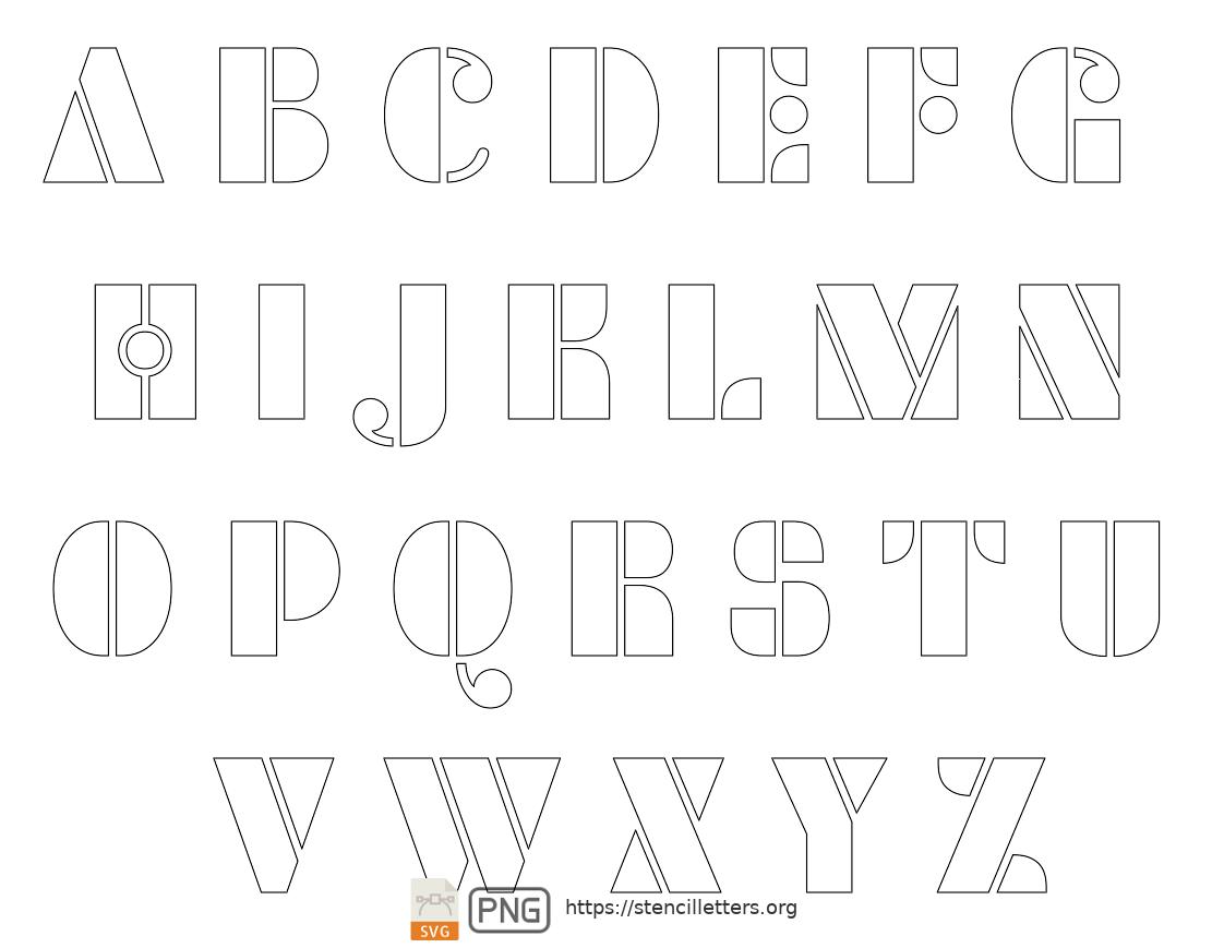 Smooth Round uppercase letter stencils