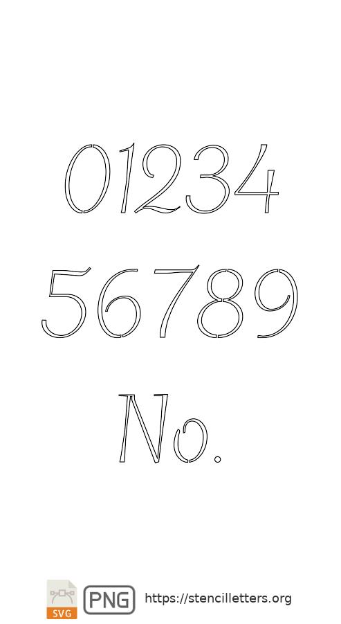 Spiral Italic number stencils